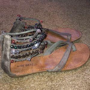 Nine West Jeweled Flip Flop Sandals